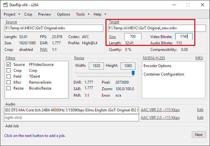 Guide to HEVC/H 265 Encoding and Playback > How to Encode