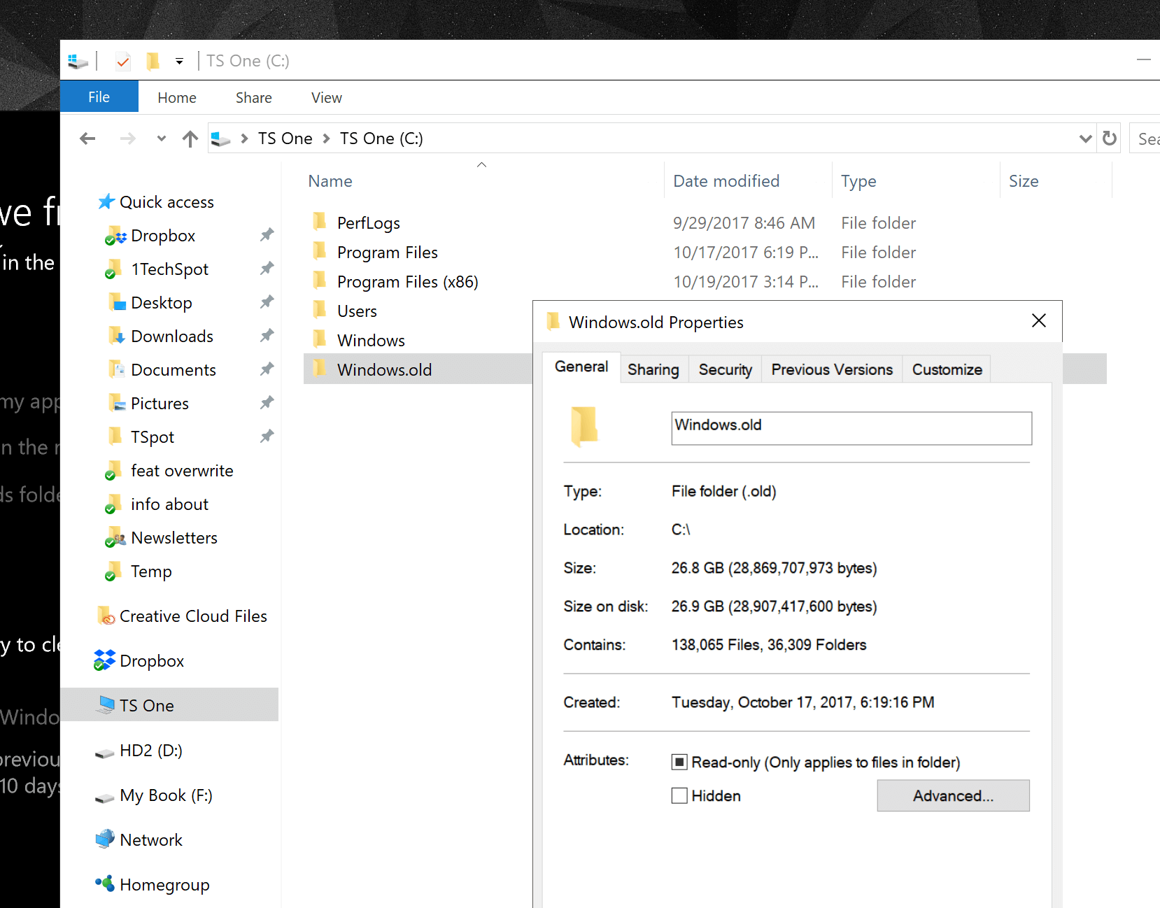 Delete the Windows old Folder and Save Space (Again) - TechSpot