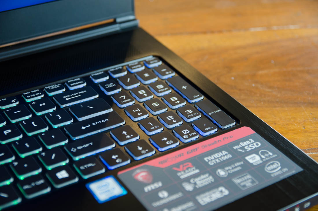 MSI GS63VR Stealth Pro Review > Display, Keyboard and