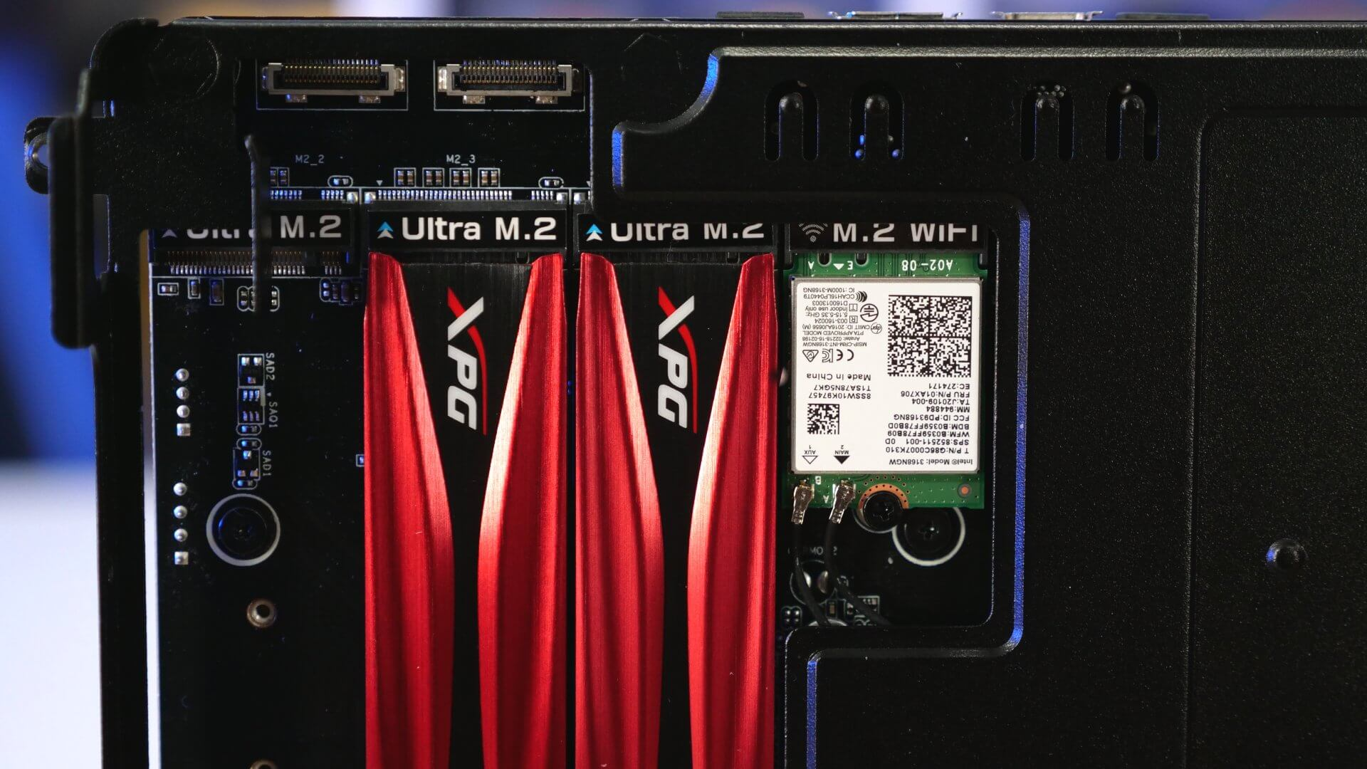 For testing we ve installed a Core i7 8700 processor a pair of Team Group s DDR4 2400 8GB modules and for storage two ADATA XPG GAMMIX S10 NVMe SSDs