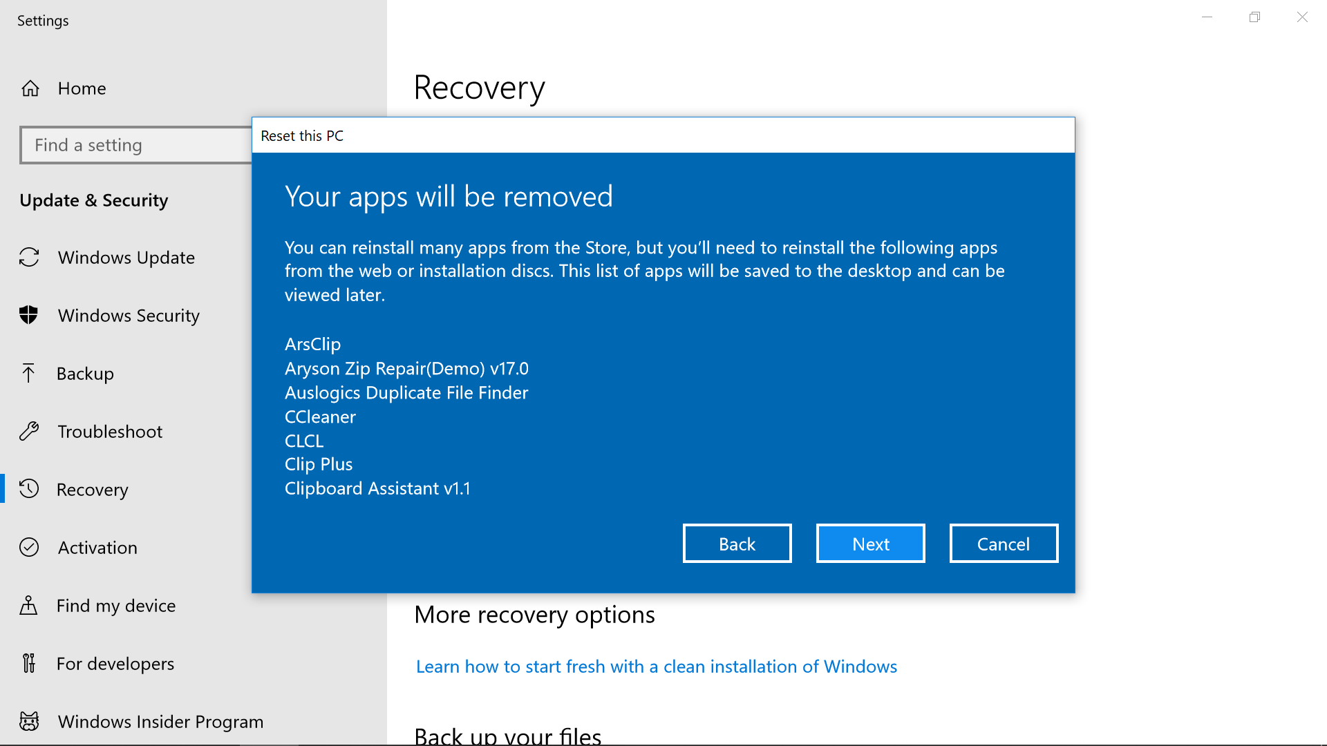windows 10 recovery uninstall drivers