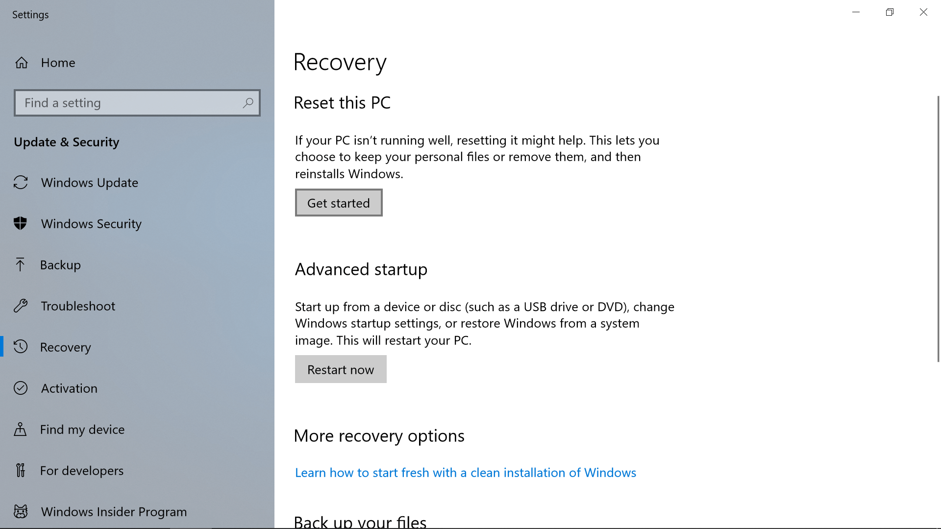 Refresh Windows 10 to its default state in a few clicks