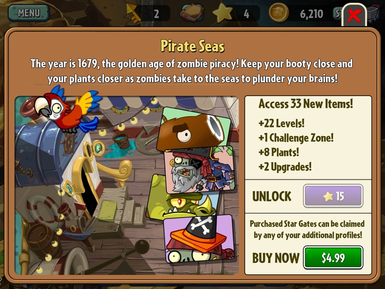 Plants vs. Zombies 2 - Pirate Seas In-App Purchase