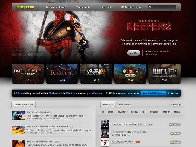 gog, good old games, game sale, worldwide money back guarantee, worldwide money, guarantee