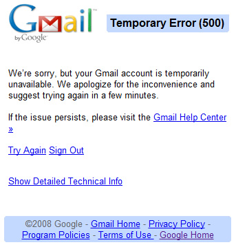google, gmail, cloud, email, google apps, outages, service interruptions, failures, webmail