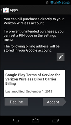 Google Play quietly rolls out carrier billing for Verizon