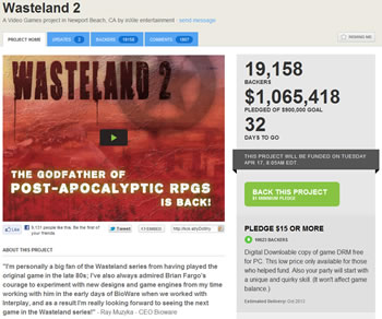 rpg, kickstarter, wasteland, wasteland 2, brian fargo, interplay, post-apocalyptic, role-playing game, inxi