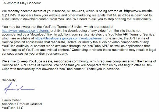 Google issuing cease and desist letter to YouTube MP3
