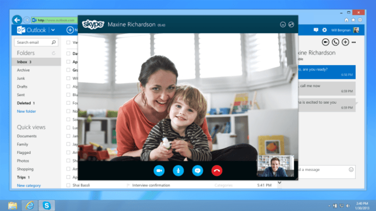 Skype integration brings video calling to Outlook.com