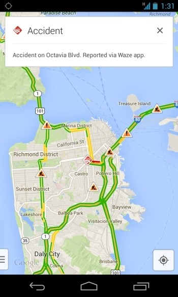 Google Maps for iOS, Android gets real time traffic reports from Waze