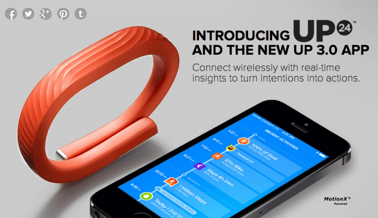 Jawbone's first wireless fitness tracker Up24 is available now for $150