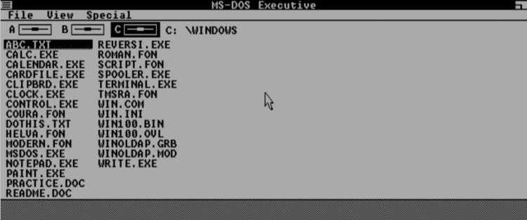 Classic Windows and Mac operating systems running in the