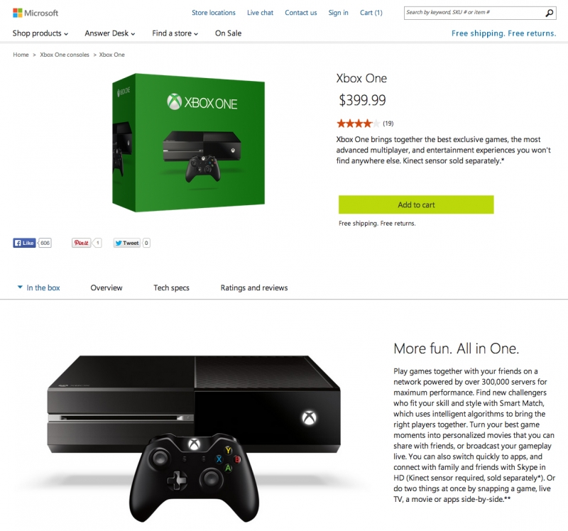 Microsoft is now selling the Xbox One sans Kinect for $399