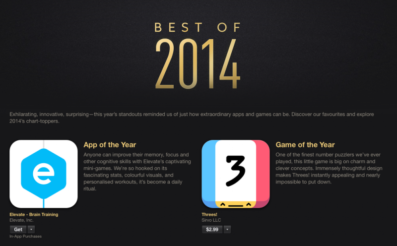 Apple reveals its Best of 2014 app, game and media lists