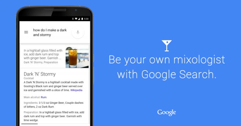 Google search results now offer up cocktail recipes and more