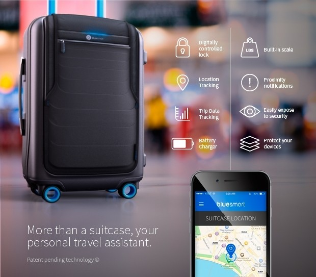 samsung samsonite gps travel tracking indiegogo airlines luggage smart luggage bluesmart connected luggage bags baggage travelers