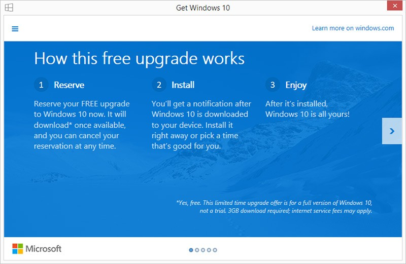 Microsoft lets Windows 7 and 8 1 users reserve free upgrade to