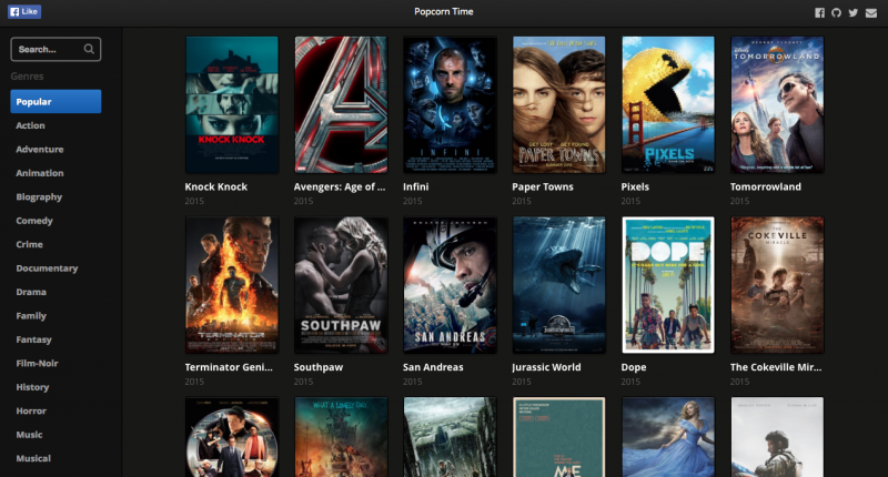 Popcorn Time now offers a web app so you can stream movies right in your browser