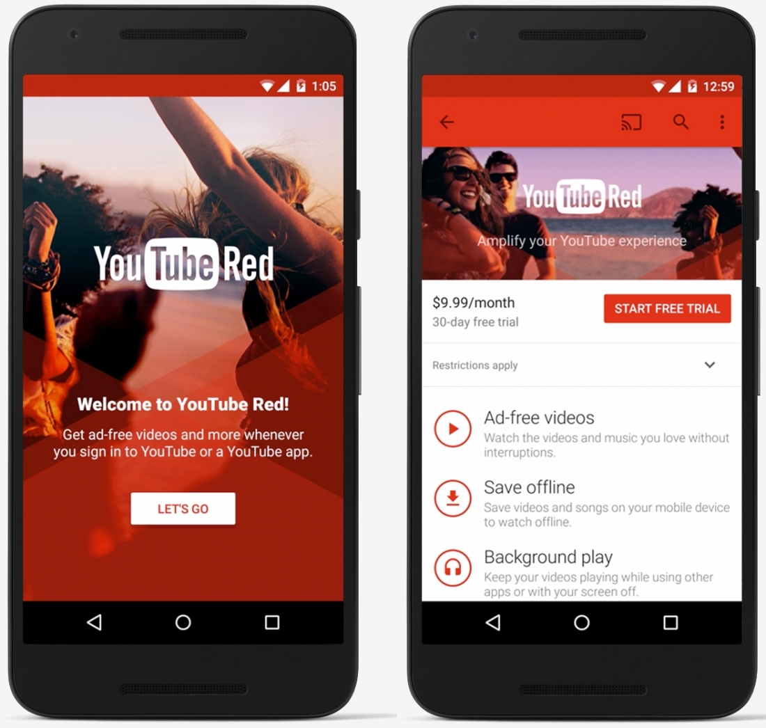 YouTube Red: ad-free videos, offline viewing, Google Play
