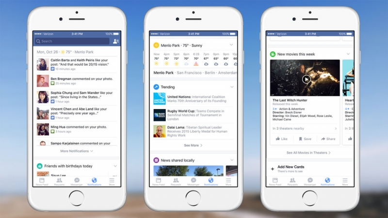 Facebook update adds new information 'cards' to revamped notifications tab