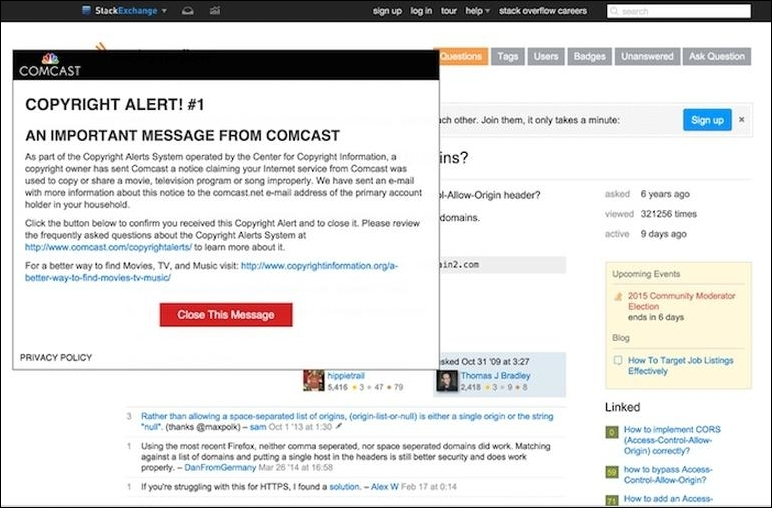 Comcast using man-in-the-middle attack to warn subscribers of potential copyright infringement