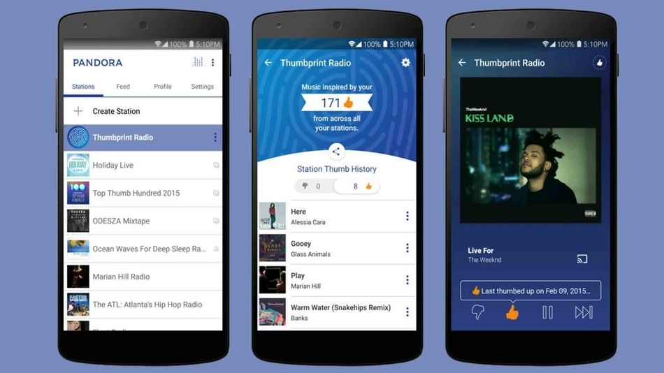 Pandora puts your favorite songs to use in Thumbprint Radio