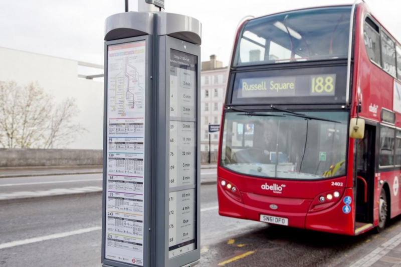 London experimenting with e-paper technology in bus schedule displays