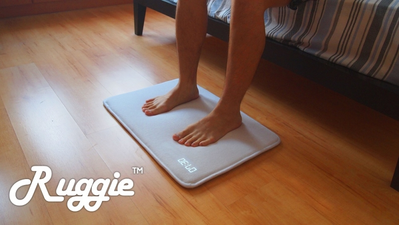 The Ruggie alarm clock won't turn off until you get out of bed and stand on it