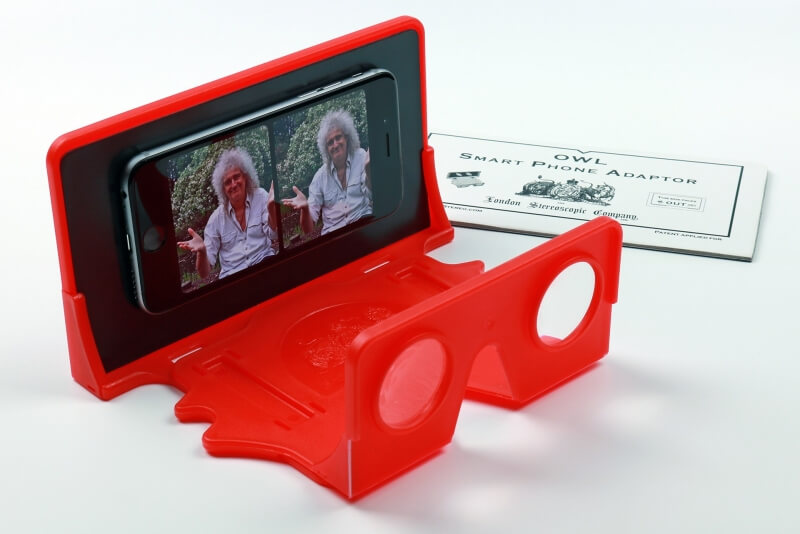 Queen guitarist Brian May shows off his plastic VR viewer