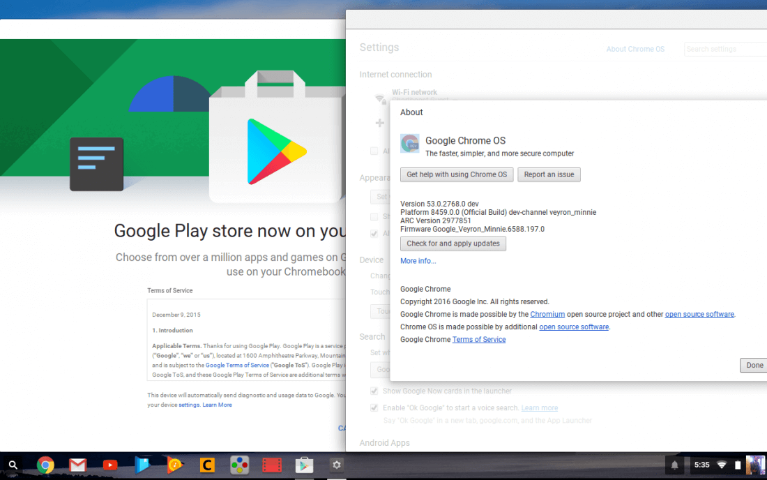 Android apps arrive on Chrome OS dev build