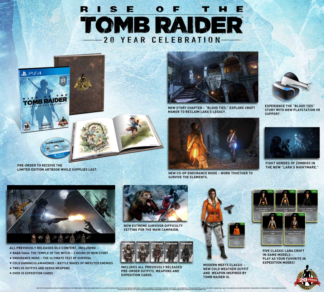20 Year Celebration Edition of Rise Of The Tomb Raider lands on the PS4 this winter