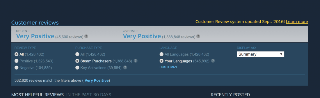 Valve's user review system overhauled