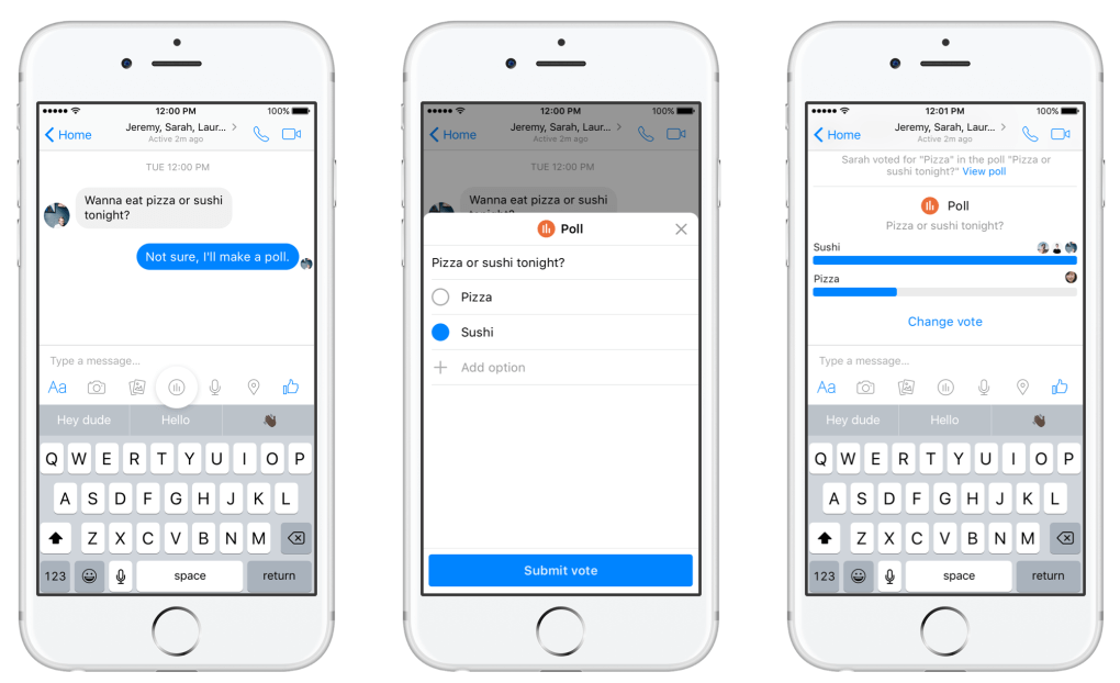 Facebook Messenger adds polls and payment suggestions