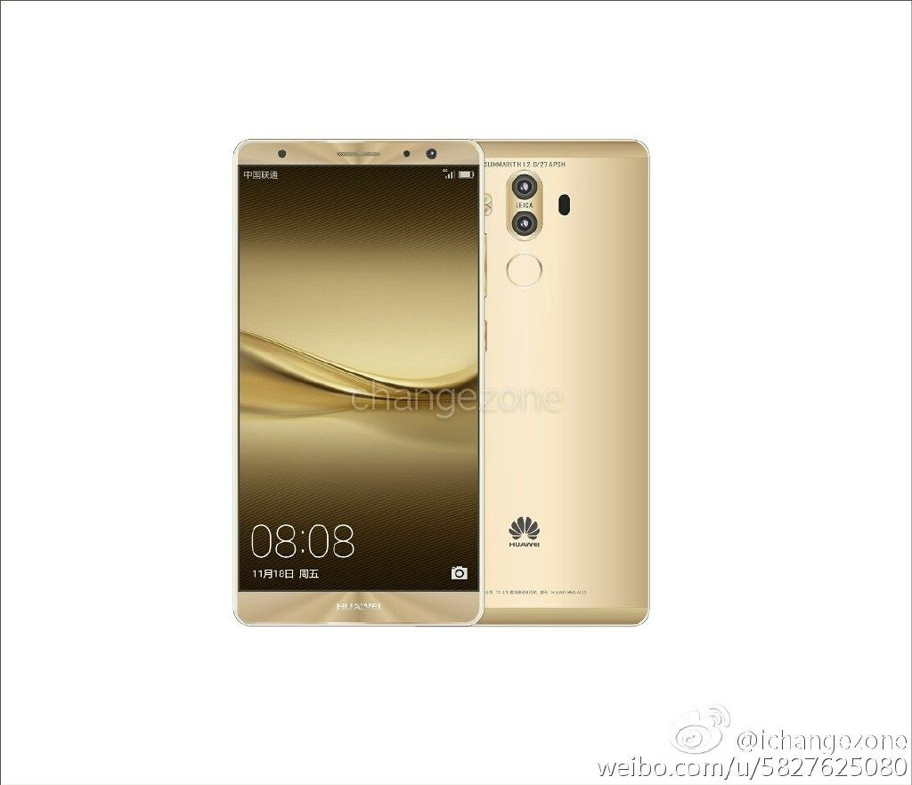 Huawei Mate 9 images leak with two cameras, up to 256 GB of storage