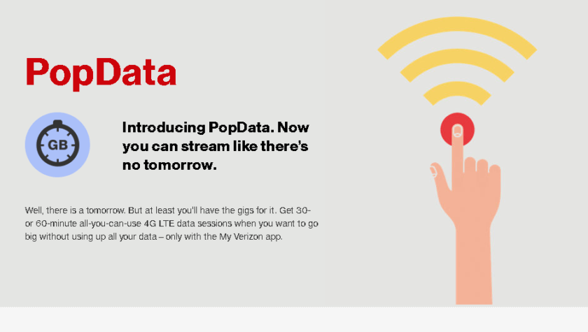 Verizon launches unlimited high speed data add-on, for short time periods