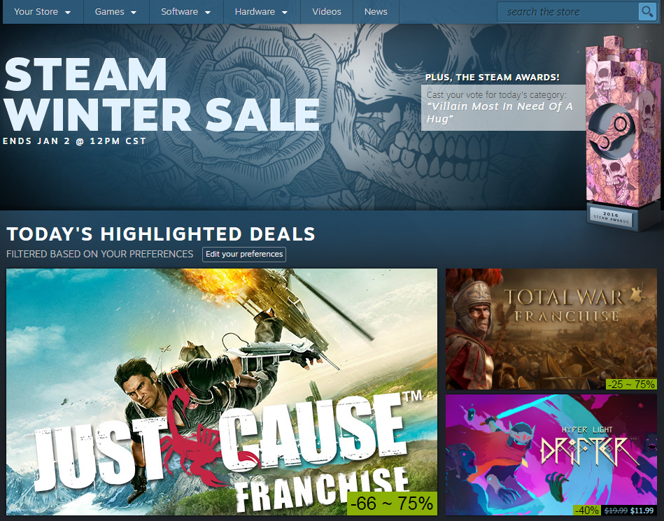 Steam Winter Sale 2016 goes live