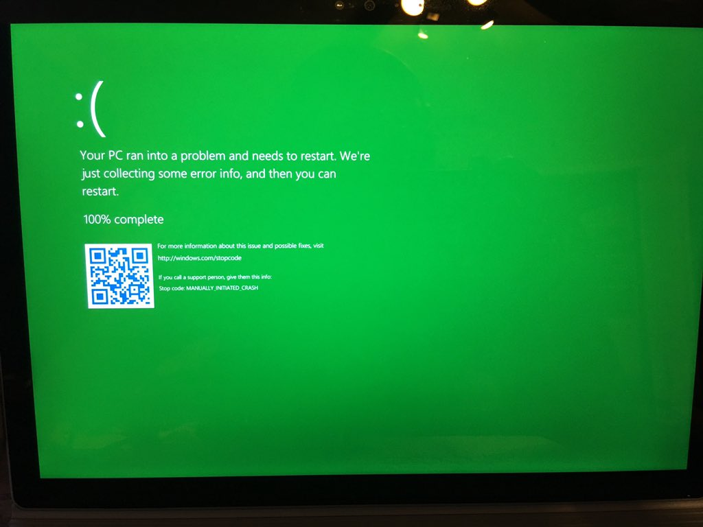 Green Screen of Death (GSoD) discovered in leaked preview build of Windows 10