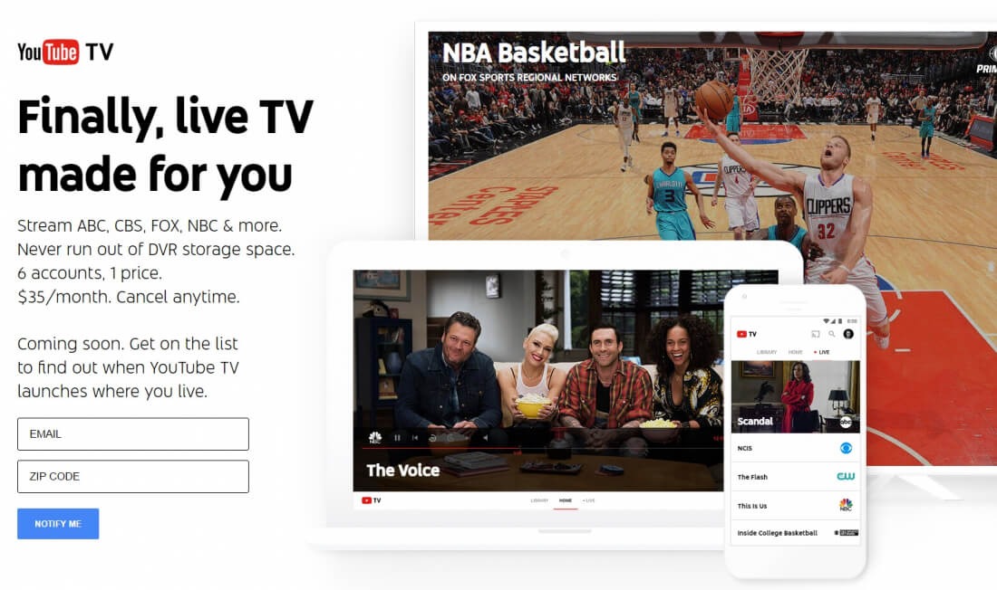 YouTube launches a TV streaming service for $35 a month