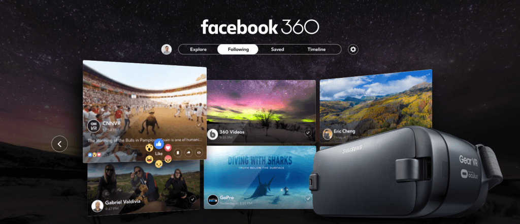 Facebook 360, the social network's dedicated VR app, has