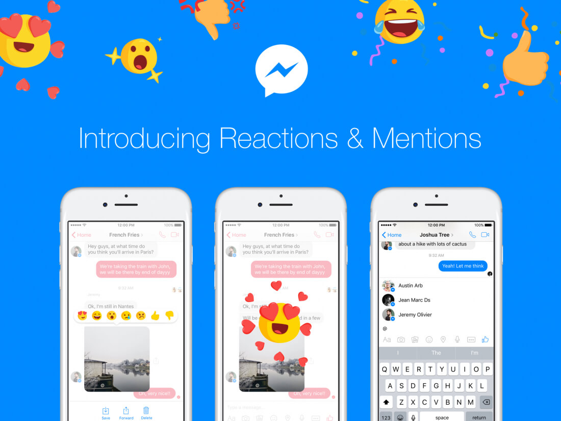 Facebook is rolling out Messenger reactions and mentions to everyone