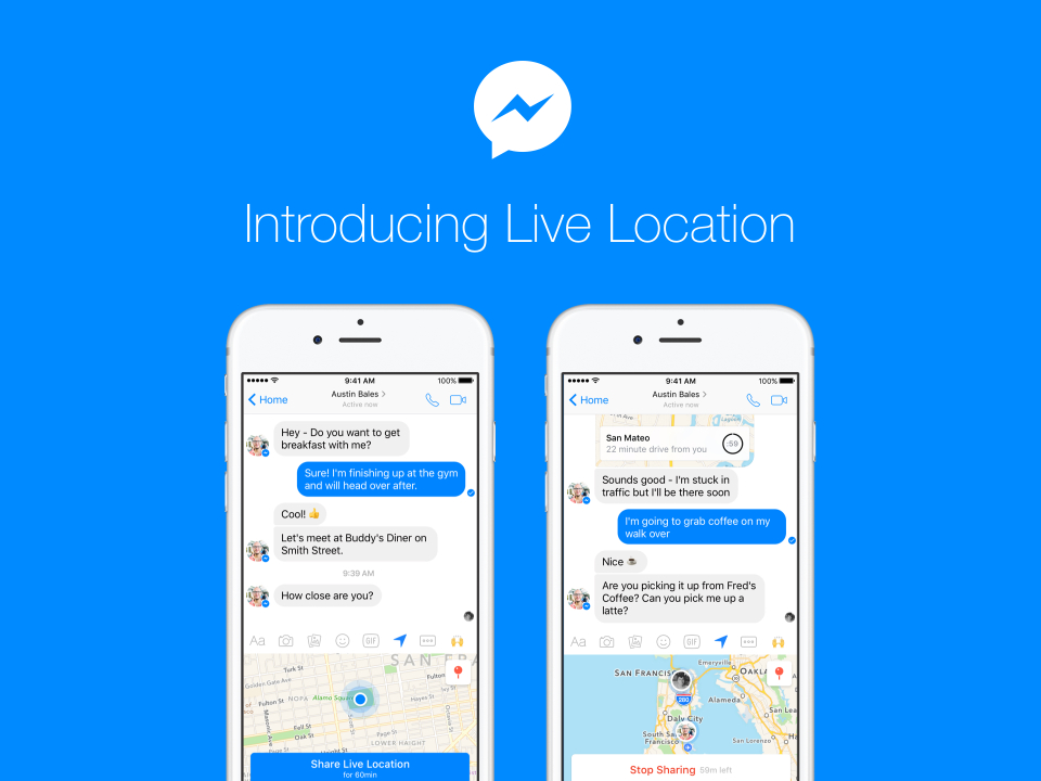 Facebook now lets you share your real-time location in Messenger