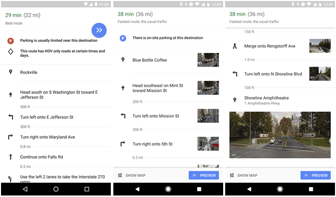 Google Maps on Android now uses Street View images to help