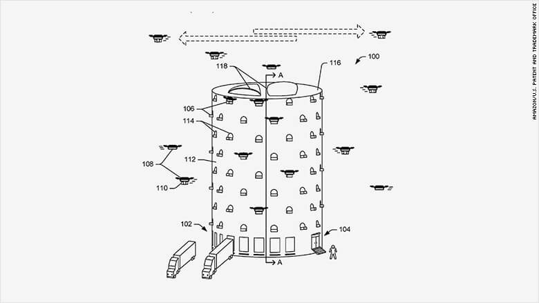 Amazon patent application envisions building beehive-like towers to bring drone deliveries to cities