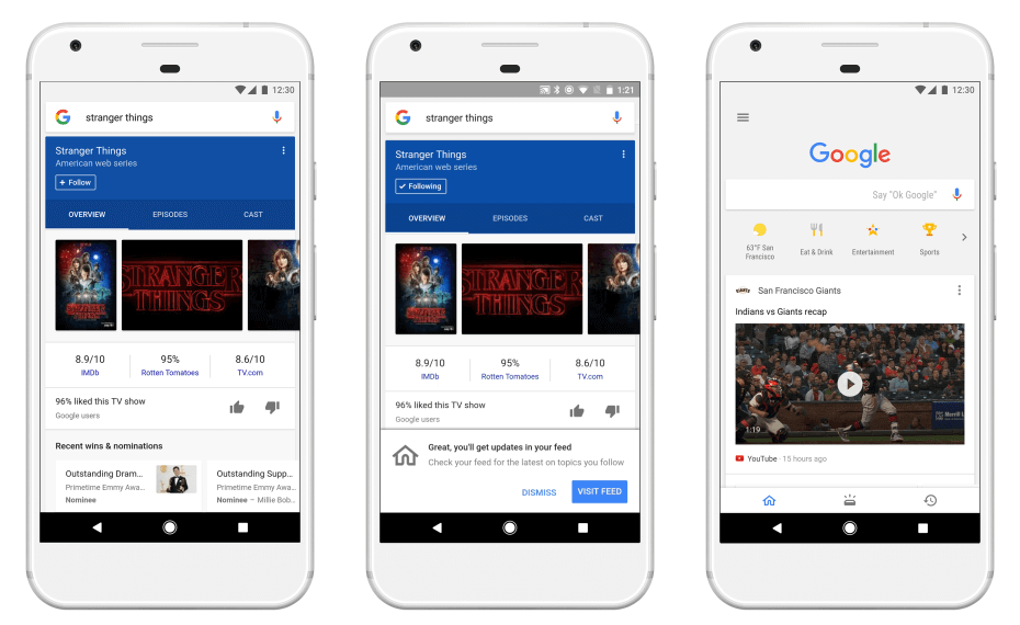 Google's updated feed shows content tailored to your interests