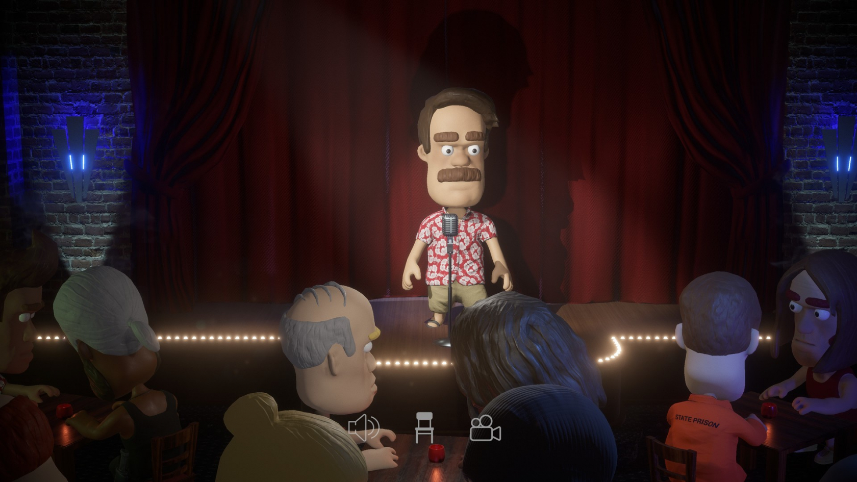 Comedy Night puts you on a virtual stage to try out jokes on real audiences