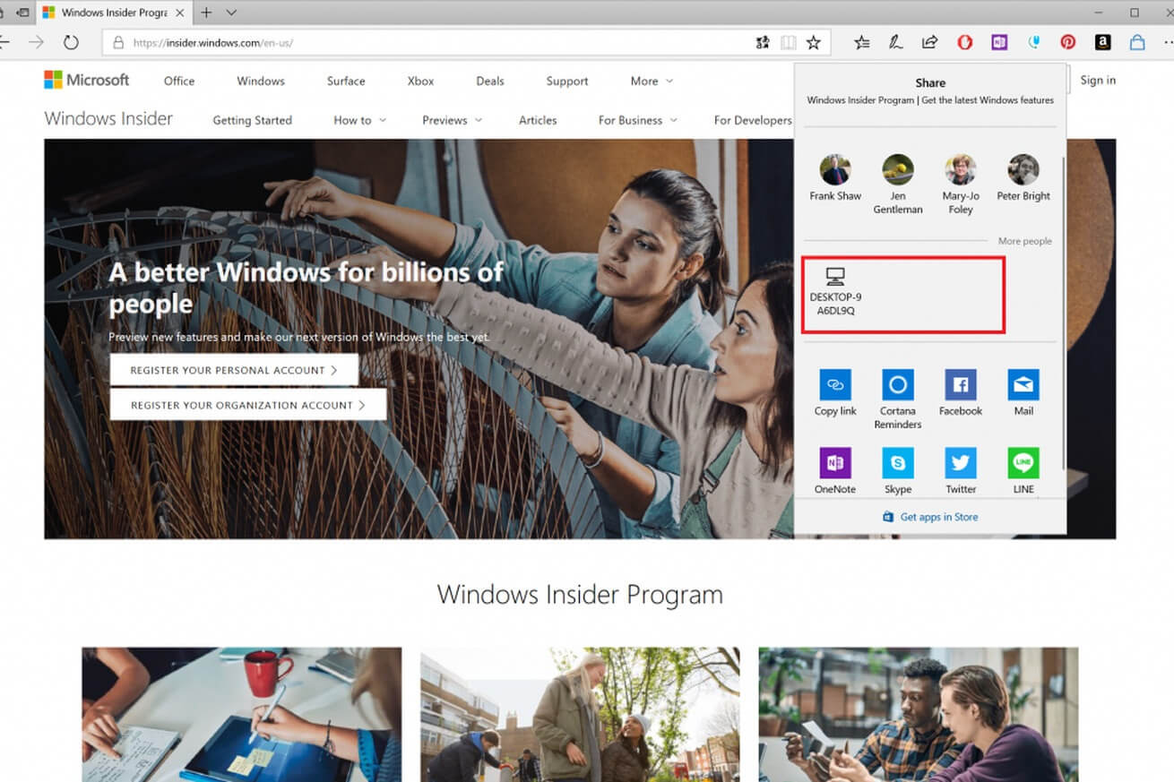 Windows 10 Insider Build shows off AirDrop-style sharing feature, mutable tabs, more