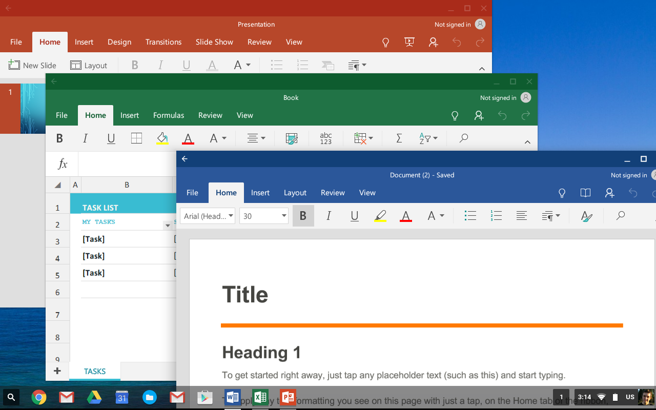 It looks like Microsoft's Office suite is now available for all Chromebooks