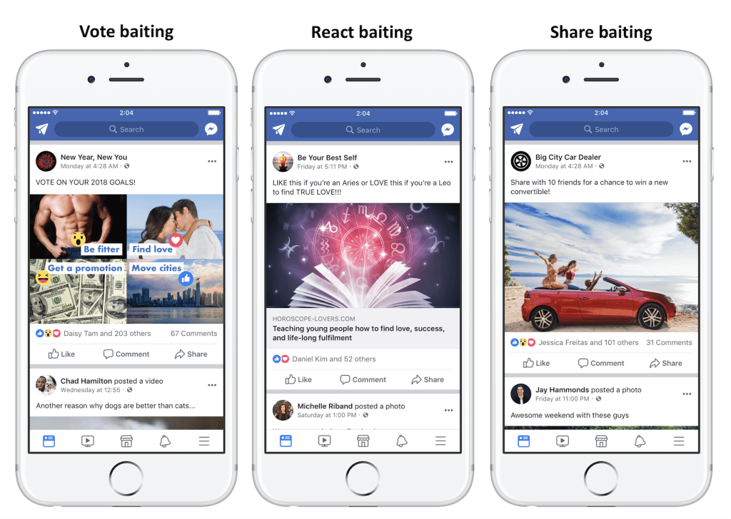 Facebook is fighting back against posts that beg for reacts, shares, comments, and tags