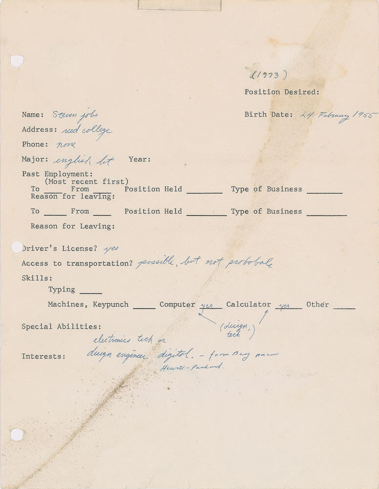 a 1973 job application form from steve jobs set to make 50 000 at