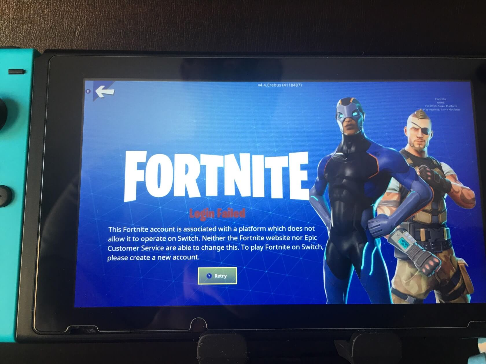 PlayStation 4 Fortnite players blocked from playing on Switch